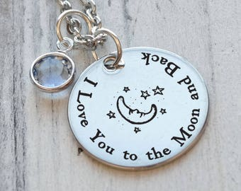 I Love You to the Moon and Back Personalized Engraved Necklace