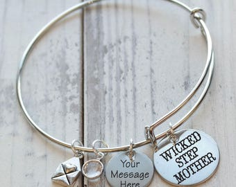 Wicked Step Mother Personalized Adjustable Wire Bangle Bracelet