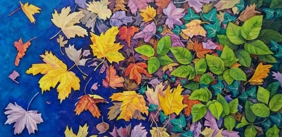 Green Reach. original painting of autumn leaves