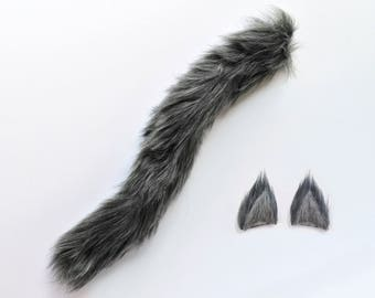 Gray Wolf Costume Set - Handmade Wolf Ears and Tail, Gray Wolf Ears and Tail