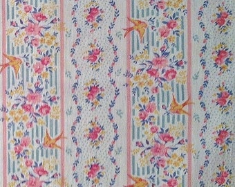 Cotton Fabric | Mini Birds & Blooms Quilting Fabric | Country Chic