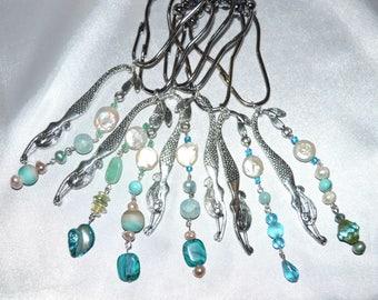 Diving Mermaid Shower Curtain Hooks, Silver, Long Dangle W/Freshwater Pearl  Sea Glass