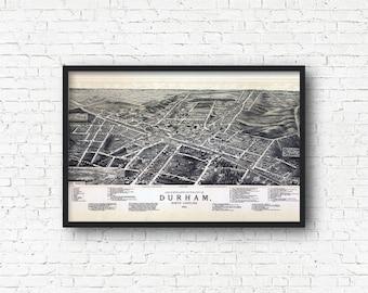 Durham Vintage Map Art Print, North Carolina, Duke University