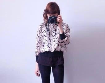 90s satin blouse long sleeve patterned S M shine