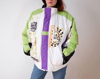 90s skijacket sportsjacket lining bomberjacket backsideprint S 36 38