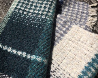 Handwoven wool scarf in blues, marine greens, grey, off-white and brown