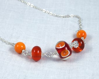 Orange lampwork glass bead necklace | sterling silver necklace | N0104