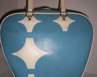 Bowling Bag, Atlantic bowling bag, vintage retro design, baby blue and white bowling bag