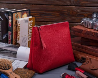 Large makeup bag leather makeup holder makeup organizer zipper pouch cosmetic bag zip travel pouch makeup storage leather toiletry case
