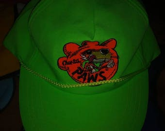 Vintage Chester cheetah baseball cap / hat strap back neon green