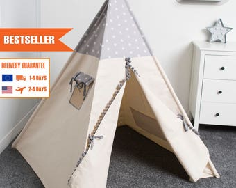 teepee tent for kids, kids play tent, tipi, teepee tent children, grey stars
