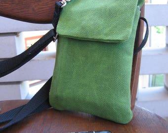 Small Shoulder Bag, Free Shipping, Waxed Canvas Crossbody Bag, Small Crossbody Purse, Waxed Canvas Handbag, Green Canvas Bag, iPhone Bag