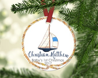 Boy's FIRST Christmas Ornament.Boy's Christmas Ornament.Sailboat.Nautical Ornament.Christmas ornament.Baby's first Christmas.