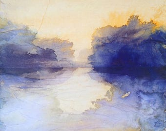 Sunset on the lake - Original painting ink and collage on canvas. Abstract waterscape. Contemporary art.