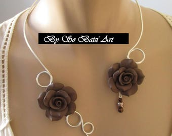 "Necklace + earrings ""Chokolad"" flowers and Brown beads"