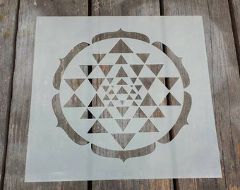 Triangles sri yantra stencil