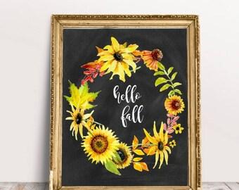 Fall Wall Art hello fall sign | etsy