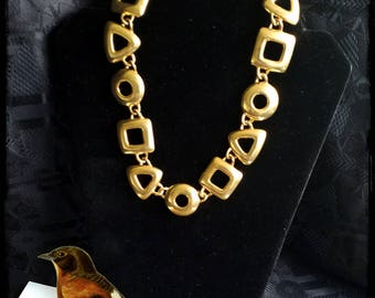 Vintage big bronze geometric collar bib necklace
