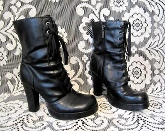 90's Black Platform Goth Heels Lace Up Boots Vegan Witch Boots 4 Inch Heel Strega Dark Mori  Industrial Grunge Boots by Bongo Nu Goth Size 8