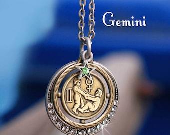 Gemini Necklace, Gemini Jewelry, Zodiac Jewelry, Gemini Birthday Gift, May Birthday, June Birthday, Astrology, Horoscope Pendant N1244-GM