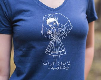 Wurlawy tshirt, in blue with white screenprint, Spreewälderin with flower