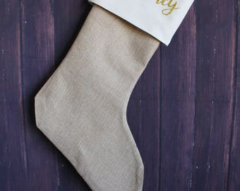 Large Custom Burlap Stocking-Christmas Stockings-Personalized Burlap Christmas Stockings-Burlap Stockings-Name Stockings-Personalized Burlap