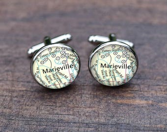 Marieville map cufflinks, Custom any city Map, match locations, Wedding Silver Mens Gifts, Unique popular gifts