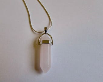 "Rose Quartz Crystal Point Healing Crystal Point Pendant 16"" 18"" 20"" 22"" 24""  Unisex Free UK Shipping + Gift Bag CHG2"