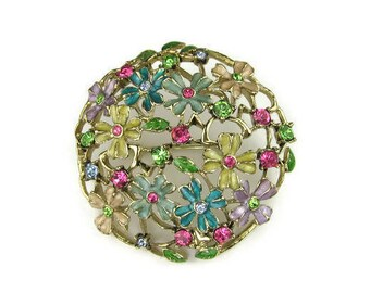 Monet Rhinestone Flower Brooch