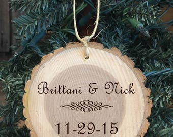 Personalized Wood Wedding/Engagement/Anniversary Ornament with names and date