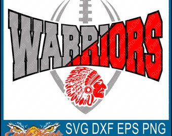 Warriors Edgy Football| SVG| DXF| EPS| Png| Cut File| Warriors| Mascot| Football| Dad| Silhouette| Cricut| Vector File| Digital Download