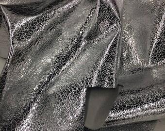 Genuine Lambskin Leather Metallic Wrinkled Silver VM030118-08 Remnant
