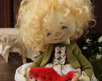 Ooak art doll, art doll, cloth doll, textile doll, collecting doll, soft doll, rag doll, dolls in handmade, interior doll, watermelon, SOLD