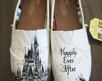 Disney Cinderella Castle, Tinkerbell Wedding/Bride Custom Hand Painted Shoes