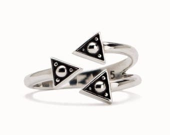 Stackable Silver Ring Boho Wrap Ring Adjustable Ring Sterling Jewelry - FRI010