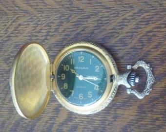 Men's Milan Quartz Gold Pocket Watch a Perched Eagle - Calendar - Japan Movement