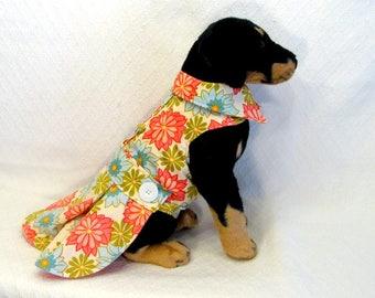 Light Corduroy Floral Over Coat Dress Harness Vest Dog Medium