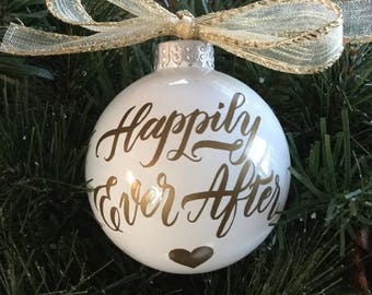 "Personalized ""Happily Ever After"" Ornament - Wedding Gift Ornament - Anniversary Gift Ornament"