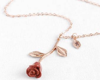 Rose Necklace with initials Beauty and the Beast necklace valentines day gift for women - 3MRN-L