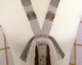 Handwoven statement necklace, linen and silk noil, silver metal and seed beads, OOAK
