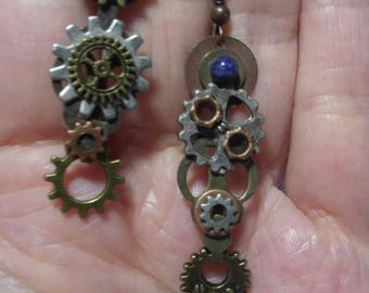 Asymmetrical Gears; Steampunk Inspired Earrings; SP325