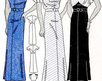 1930s dress sewing pattern vintage frock in 3 styles bust 40 reproduction