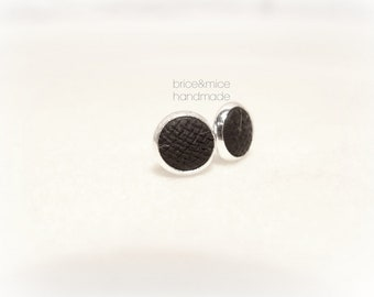 Round black stud earrings, matte black lobe earrings, black ceramic earrings, minimal black studs, black earrings for him for her