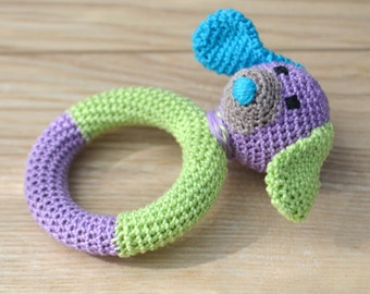 Natural Teether, Rattle, the dog, rattle puppy, organic Teether, safe rattle, handmade, crocheted dog