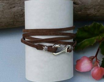 Suede Wrap Bracelet, Brown Leather Bracelet, Unisex Bracelet, Wrap Bracelet, Double Wrap,