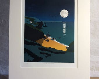 Walk To Llangrannog Original Silkscreen Print from Wales