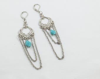 Extra Long Chain Dangle Earrings Blue Bead Silver Bohemian Boho Gypsy Style