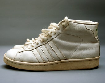 Baskets vintage ADIDAS Made In France, Année 80, Blanches en cuir, Taille fr 40 / us 8 / uk 6.5