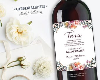 Bridesmaid Wine Labels to Ask Bridal party, Maid of Honor Proposal, Bridesmaid Gift, Be my Bridesmaid Wine Label,  Thank You Bridesmaid Gift