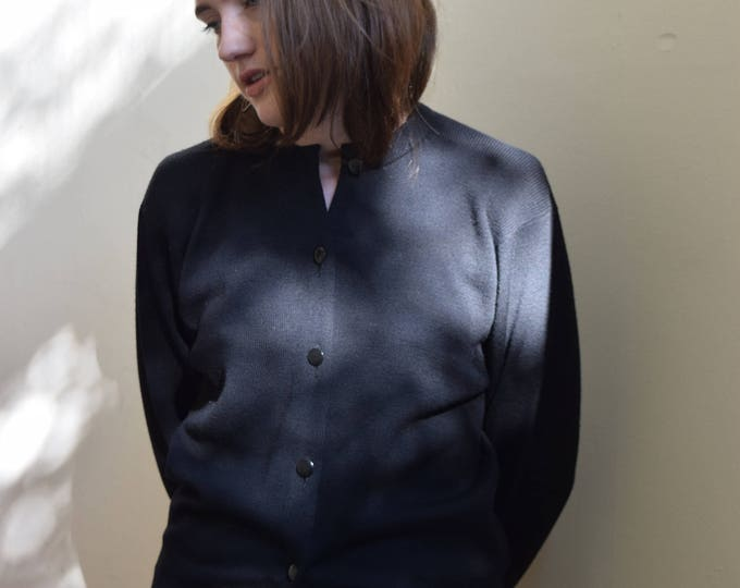 Vintage Black Merino Wool Cardigan.